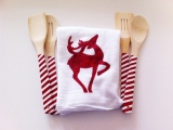 Candy Cane Painted Wooden Spoons And A Reindeer Tea Towel